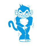 Blue monkey with a cold. Vector illustration Royalty Free Stock Images