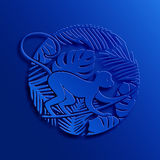 Blue Monkey in Jungle. Chinese 2016 New Year Paper Cutting Style Concept with Blue Monkey in Jungle. Vector Decorative Illustration. New Year Zodiac Symbol vector illustration