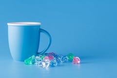 Blue monochromatic mug Royalty Free Stock Images