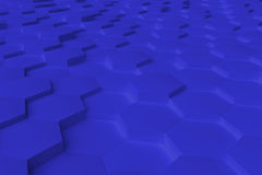 Blue monochrome hexagon tiles abstract background Stock Photo