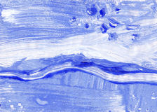 Blue  Monotype gouache brush - color texture. Winter theme Royalty Free Stock Images