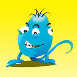 Blue monster. Imaginary puppet with three eyes and without arms Royalty Free Illustration