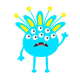 Blue monster with ears, fang tooth and horns. Funny Cute cartoon character. Baby collection. . Happy Halloween card. Flat Royalty Free Stock Photo
