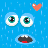 Blue monster face cartoon personage Stock Photography