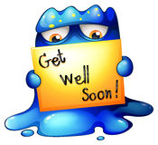 A blue monster holding a get-well-soon card Royalty Free Stock Image