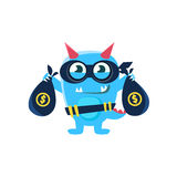 Blue Monster With Horns And Spiky Tail Robbing The Bank Stock Images