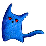 Blue monster with red eyes and a tail draw a pencil Stock Photo