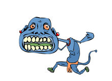 Blue monster running Stock Images