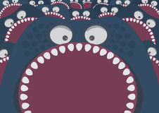 Blue monster with sharp teeth attack Stock Photo