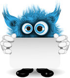 Blue Monster with a White Background Royalty Free Stock Photos