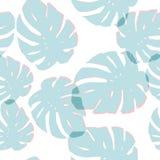 Blue monstera leaves seamless pattern white background vector illustration