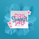 Blue Monstera palm leaves aroung white square sheet with hand lettering Flash Summer Sale Banner design in paper cut style. Origami plants with frangipani vector illustration