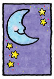 Blue Moon. A blue moon and stars. Art marker on vellum Royalty Free Stock Photos