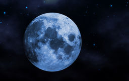 Blue moon. And night sky abstract background vector illustration