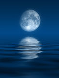 Blue Moon. This image shows a computer generated moon and sea vector illustration