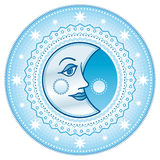 Blue moon. Cartooned blue moon surrounded by stars Stock Image