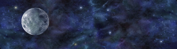 Blue Moon Deep Space Banner Stock Photo