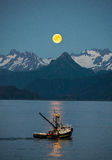Blue Moon from Homer, Alaska. Blue Moon from the Homer Spit July 31st 2015 Royalty Free Stock Images