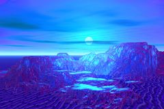 Blue moon landscape. Abstraction 3d illustration landscape with mountains  in blue color Stock Image