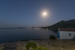 Blue moon over the island of Samos, Greece Stock Photo
