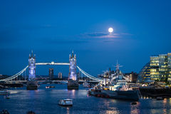 Blue moon over London Stock Image