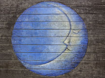 Blue moon painting on the wooden floor Stock Photo