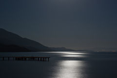 Blue moon reflected on the ocean Royalty Free Stock Photos