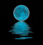 Blue moon reflection. Blue moon reflected in the water Royalty Free Stock Photos