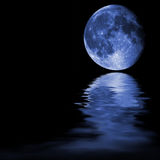 Blue Moon with Reflections Royalty Free Stock Photo