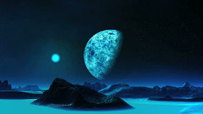 Blue Moon Rise On An Alien Planet stock footage