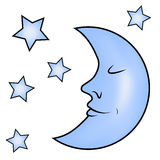 Blue moon and stars Stock Photo