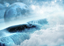 Blue moon and waves Royalty Free Stock Photo