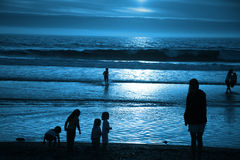 Blue Moonlight Beach Stock Image
