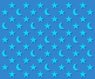 Blue moons and stars pattern. With shadow Stock Images