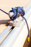 Blue mooring rope on ship Royalty Free Stock Photo