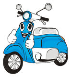 Blue moped and gesture. Smiling face of blue moped show getsure cool Royalty Free Stock Photography