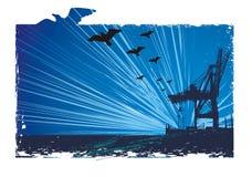 Blue  morning &  crane Royalty Free Stock Photo