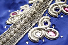 Blue Moroccan Caftan embroidery details Royalty Free Stock Photos