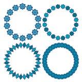 Blue Moroccan circle vector frames. Clipart vector illustration