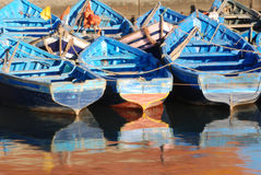 Blue Moroccan Fishing Boats Royalty Free Stock Photography