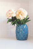 Blue moroccan vase with large white flowers royalty free stock images