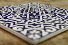 Blue Moroccan zellige tile. From Fez stock image