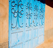 Blue morocco old door and historical nail wood Royalty Free Stock Images