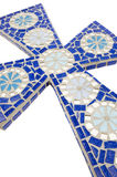 Blue mosaic cross with white background Stock Photos