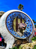 Blue Mosaic Dog-Fountain in the Park Guell, Barcelona, Spain Royalty Free Stock Photos