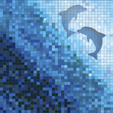 Blue mosaic with dolphins Stock Photos