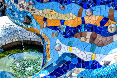Blue Mosaic Dragon-Fountain in the Park Guell, Barcelona, Spain Stock Image