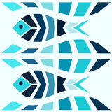 Blue mosaic fish pattern seamless vector illustration