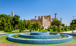 The blue mosaic fountain at Registan Square in Samarkand, Uzbekistan Royalty Free Stock Image