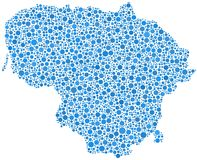 Blue mosaic map of Lithuania Stock Photos